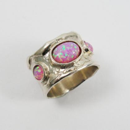 Pink Opal ring. sterling silver rin..