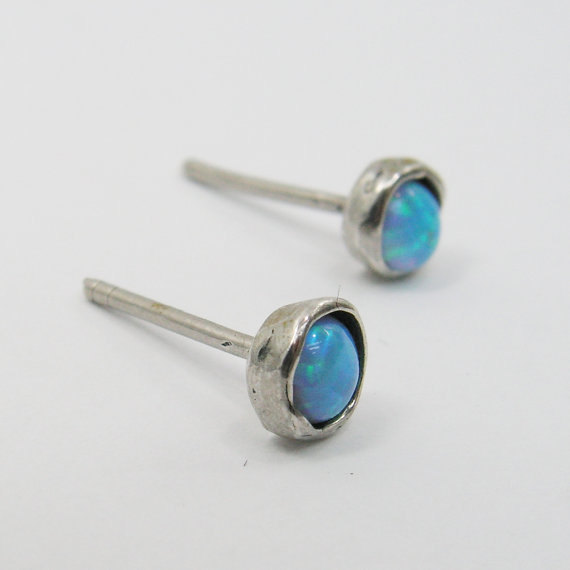 Stud earrings. Solid sterling silver 925 5mm Opal stud earrings. birthday gift for her, opal jewelry, opal post earrings