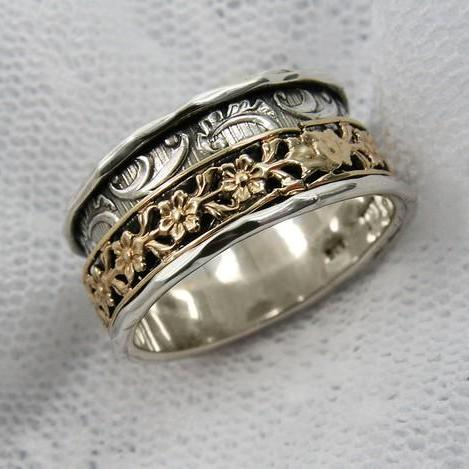 Spinner ring. Sterling silver gold floral spinner ring. Wide spinner ring. Unique spinner ring (gsr-7051). Birthday gift