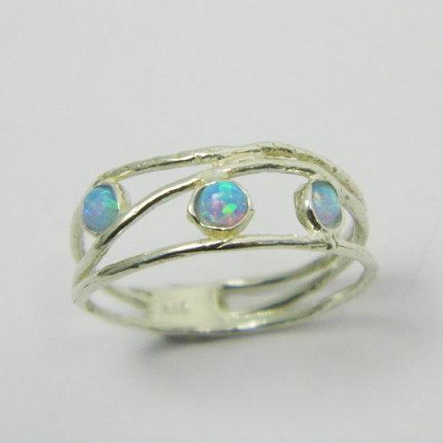 Opal ring. Opals sterling silver ring. birthday gift for her, romantic gift ideas, every day rings, opal jewelry